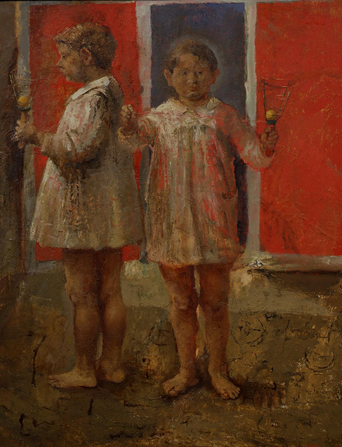 Bambini - Fausto Pirandello - 1942olio su tavola, cm. 100x85,5 Collezione Astaldi