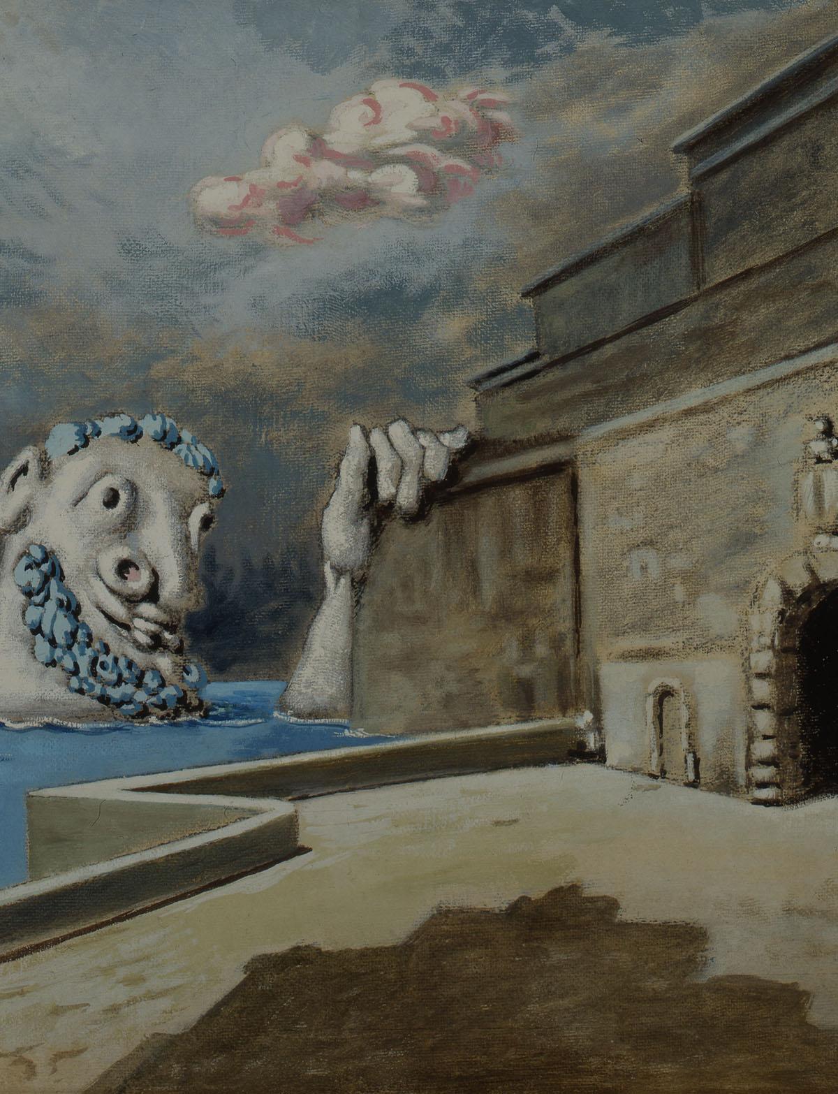 Il protettore dei porti - Alberto Savinio (Andrea de Chirico) - 1950tempera on canvas, cm. 57,5x70 Collezione Astaldi