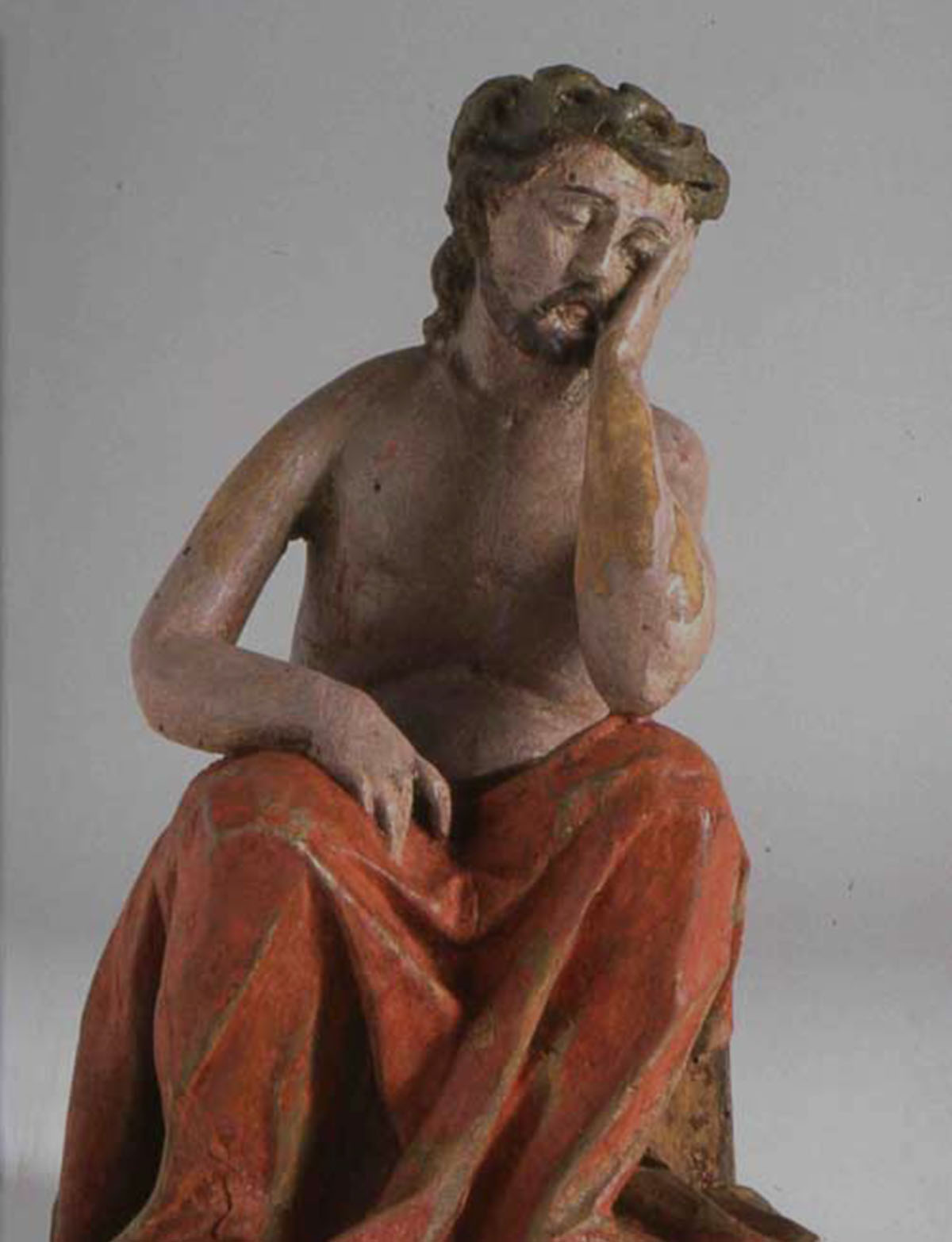 Il Cristo pensoso - Sculptor of the Friuli area, 18th CenturyCarved wood painted and gilded, 21x9,9x12,1 cm