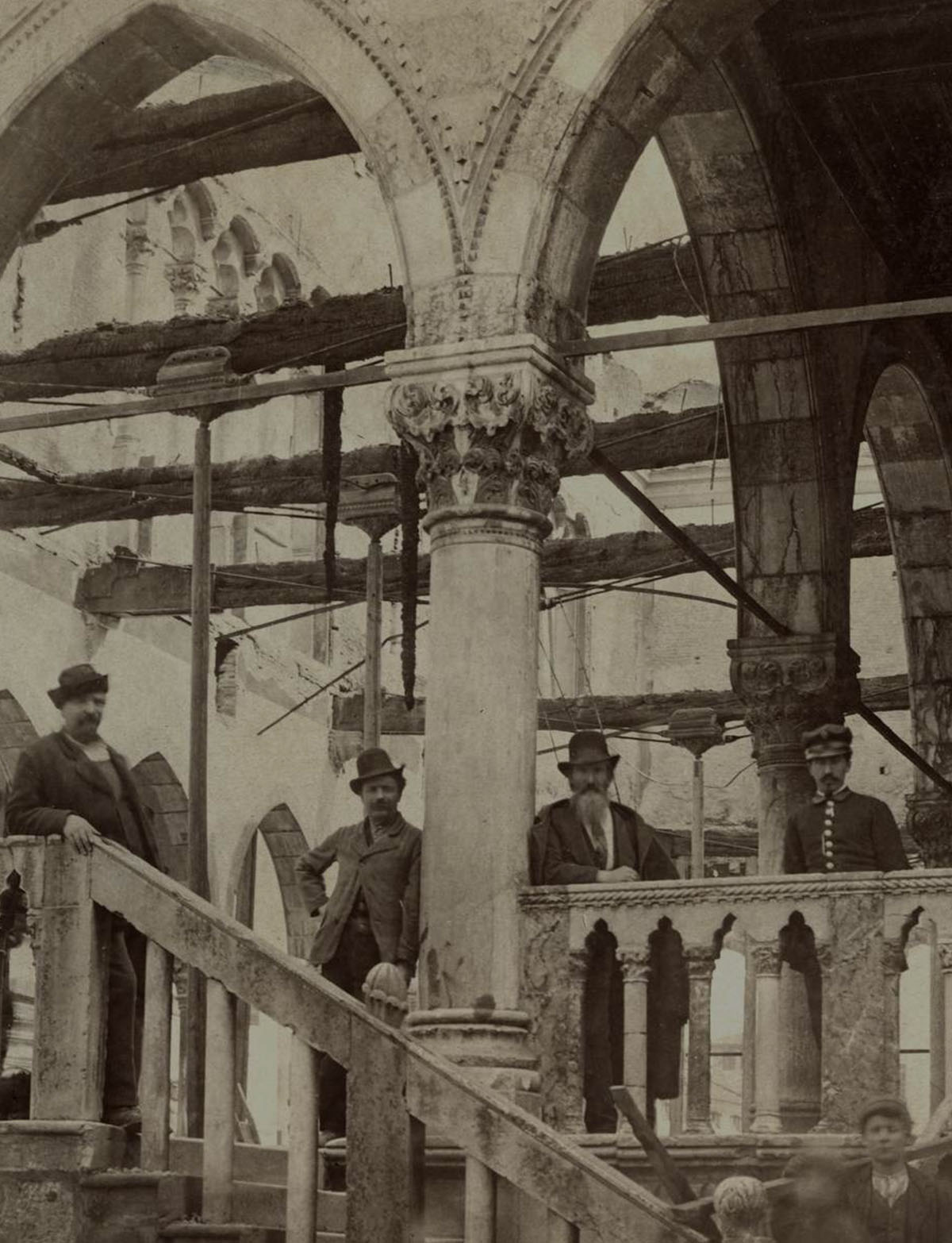 Loggia del Lionello after the fire - Giuseppe Malignani, 1876